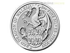 5 libras pounds Queen 's Beasts Red Dragon Gales gran bretaña 2 Oz plata 2017