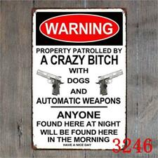 Warning A Crazy Bitch Vintage Metal Tin Signs Plate Decor Art Wall Poster