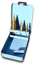 Stufenbohrer Satz 3tlg HSS TiN inkl. Metallbox 4-32 mm Schälbohrer Bohrer NEU