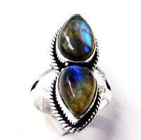 Fire Labradorite 925 Sterling Silver Plated Handmade Jewellery Ring UK Size-L