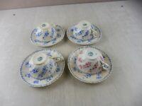 Lot de tasses et sous tasses en porcelaine, décor torsade, de Sarreguemines