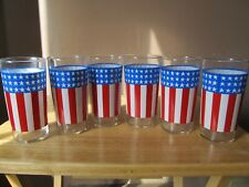 """New listing American Flag/Patriotic 5.25"""" Tall Glass Tumblers Set of 6~Red White & Blue~Usa!"""