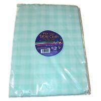 Checkered Table Cover Cloth 182x137cm Wedding BBQ Garden Wipe Clean Party AQUA