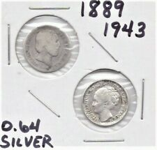 (2) Netherlands Silver Coins 10 Cents 1889 And 1943 As Pictured 0.64 silver