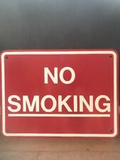 """Large Heavy Steel Street Sign No Smoking Sign 24"""" x 18"""" Wall Mounted Red & White"""