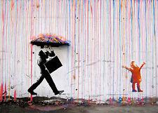 Encadrée Imprimer-Banksy Street Art Certaines personnes ressentent la pluie d'autres Juste se mouiller