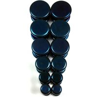 V145 Blue Steel Fake Cheaters Illusion Faux Flat Plugs 4G 2G 0G 00G 7/16 1/2""