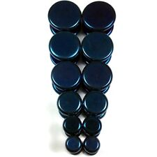 """V145 Blue Steel Fake Cheaters Illusion Faux Flat Plugs 4G 2G 0G 00G 7/16 1/2"""""""