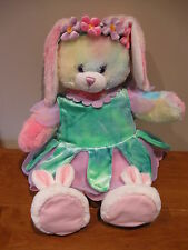 "Build A Bear bunny rabbit pastel 16"" w/flower petal dress & bunny slippers BABW"