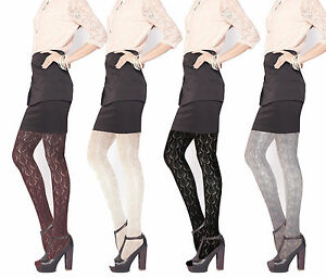 Ladies Pointelle patterened tights womens black tights size M