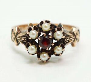 Antique 19c Renaissance Revival 14K Gold Garnet Seed Pearl Ring Size 8