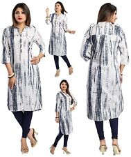 UK STOCK - WOMEN BLACK WHITE INDIAN COTTON  KURTA KURTI TUNIC TOP SHIRT MM128