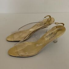 Vintage 1950s Peep Toe Lucite Heels Special Occasions Saugus Shoe 8 M