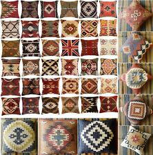 Indian Vintage Kilim Jute Pillow Case 18x18 Hand Woven Rug Throw Cushion Cover