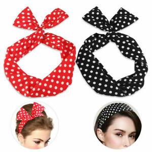 2PCS POLKA DOT Spotty TIE Headscarf Headband Hair Band Retro 60s/50s ROCKABILLY