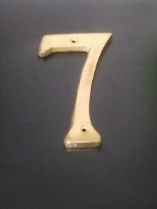 """Stanley House Address Number 7 Aged Brass 6"""" Screw On Mount"""