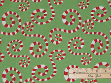 It's Christmas Green Peppermint Swirl Cotton Fabric  by the 1/2 Yard  #6JHF-1