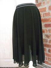 Topshop UK 14 Black Sheer Flare Floaty half lined  Skirt