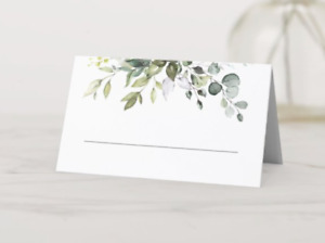 Elegant Wedding Watercolor Print Eucalyptus Table Cards by Zazzle - 50 per set