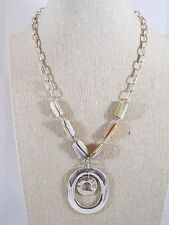 Signed KC Kenneth Cole Double Circle Pendant Necklace w/Mother of Pearl Beads