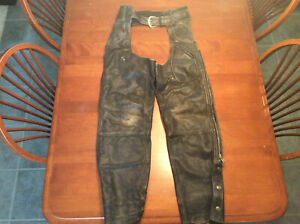 Harley Davidson PANHEAD Vintage Distressed Leather Chaps Men's-Small AWESOME!