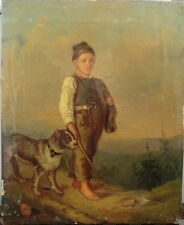 Young Boy with Dog, 19th Century, Oil on Canvas