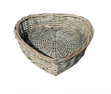 Heart Shape White Washed Wicker Easter Wedding Xmas Hamper Storage Gift Basket Oak Set of 2 Medium