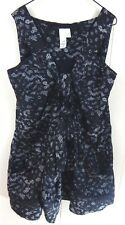 2bRych Women's XS Top Black and SIlver Lace Print Sleeveless Blouse EUC