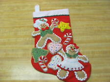 FINISHED BUCILLA GINGERBREAD COOKIES RED FELT CHRISTMAS STOCKING HAND SEWN