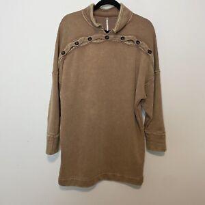 Free people oversized brown sweatshirt dress small