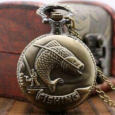 Bronze Fishing Angling Quartz Pocket Watch Chain Necklace Women Mens Retro Gift