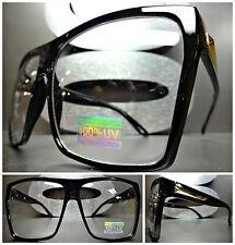 OVERSIZE VINTAGE PARTY RAVE CLUB NERD Clear Lens EYE GLASSES Black & Gold Frame