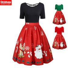 Womens Christmas Dress Santa Costume Xmas Short Sleeve Holiday Party Midi Outfit