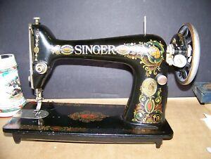 Vintage Singer Red Eye Model 66 Sewing Machine 1921 old antique with hinges