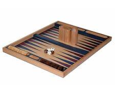 "19"" Large Wooden Backgammon Blue Non Folding Game Board Set"