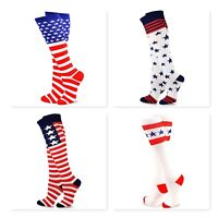 TeeHee USA American Flag Men/Women's Knee High Socks  2 Pair Pack United States