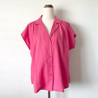 Vintage BERNINI Pink Textured Short Sleeve Button Up Shirt Size 14-16 Aust Made