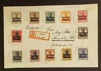1920 Ebrach Germany Freistaat Bayern Overprint Multi Franking Registered Front