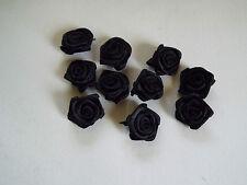 Fabric, Black - Satin Ribbon Roses - Appliques,Trimmings,Wedding 2cm x 10