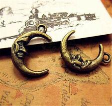 PJ537 10pc Antique Bronze moon Pendant Bead Charms Accessories wholesale