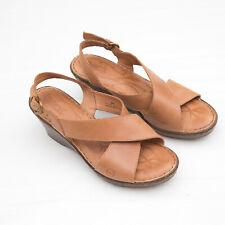 Born womens ashley cross strap sandals Leather platform slingback Wedge SiZe 8