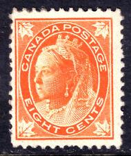 CANADA #72 8c ORANGE, 1897 QV LEAF, F, OG-LH