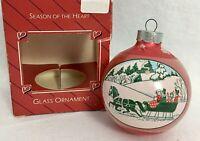 Vintage Hallmark Glass Ball Ornament Season of The Heart 1986 Christmas In Box