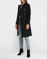 nwt EXPRESS soldout long wool belted pea coat xs black