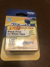 Brother P Touch Double Pack M Tape 12 Inch Black On White M 2312pk