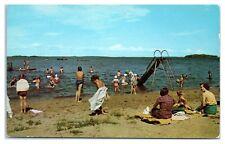 1950s City Beach and Water Slide, Rainy Lake, International Falls, MN Postcard
