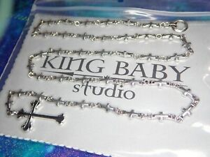 42.9 Grams Mint King Baby Sterling Silver Cross Lariat Necklace & Cross Pendant