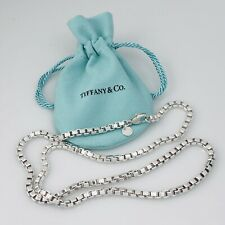 "22"" Tiffany & Co Large Men's Unisex Sterling Silver Venetian Box Link Necklace"