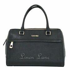 CALVIN KLEIN Black Satchel SAFFIANO Leather Medium PURSE Gold Handbag NWT $238