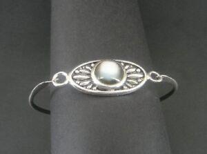 Bracelet Silver Abalone Stone Hook Clasp Sterling 925 Flower Bangle Bracelet